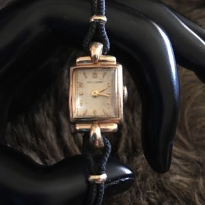 Antique 40s Cowell & Hubbard 10k gold corded watch